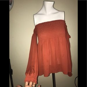 Express Orange Off The Shoulder Top